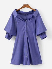 Solid Button Through Shirt Dress