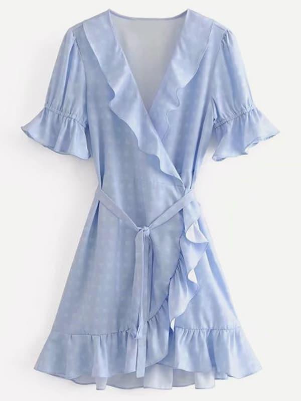 Ruffle Trim Wrap Dress layered ruffle trim satin wrap dress