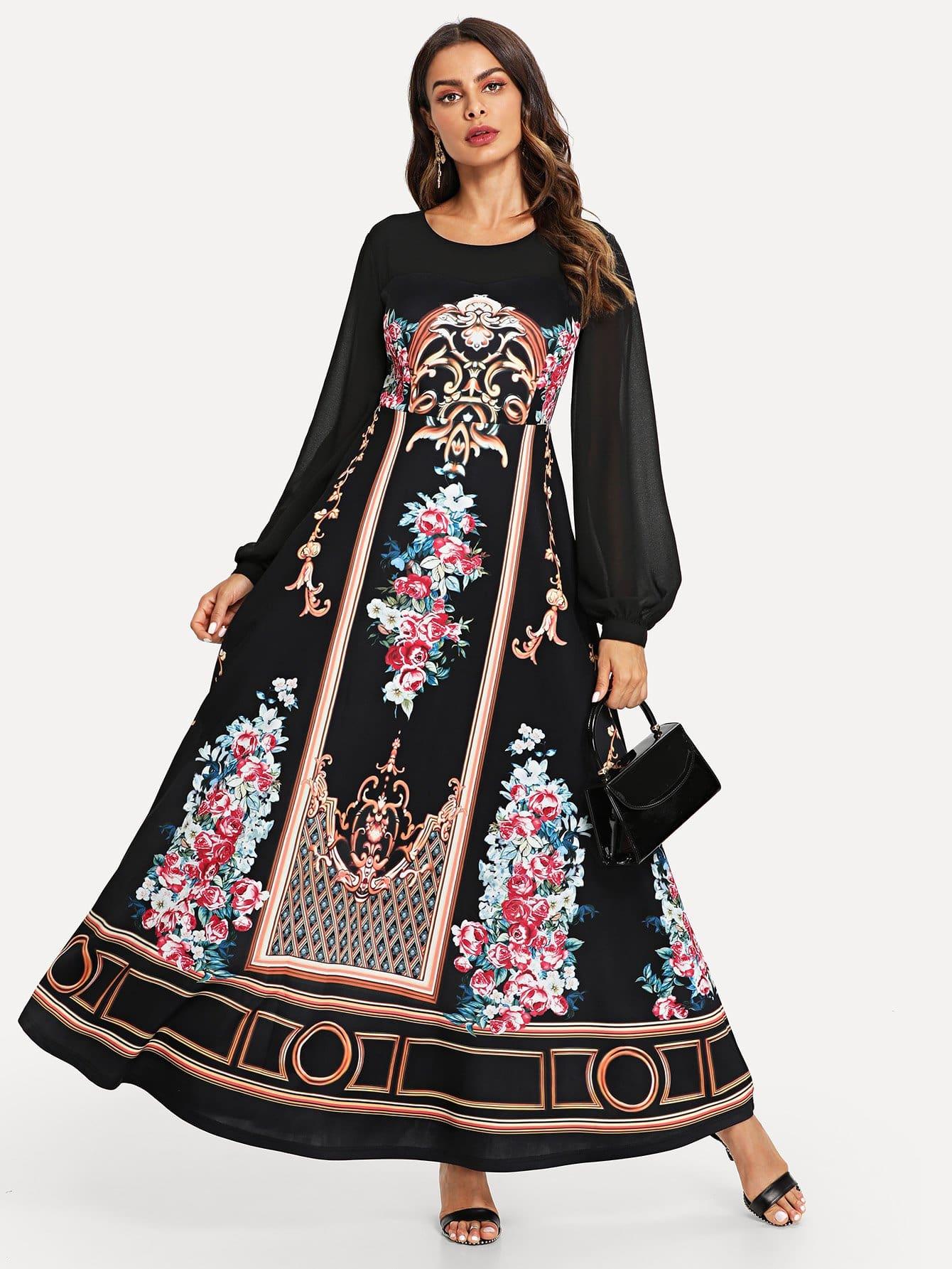 Купить Цветочная печать Епископское платье с рукавами, Andy, SheIn