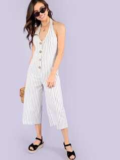 Button Up Striped Jumpsuit