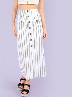 Stripe Button Up Skirt with Pockets