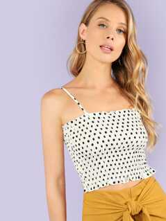 Polka Dot Smocked Tank Top