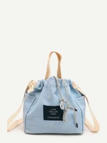 Patch Detail Drawstring Grab Bag