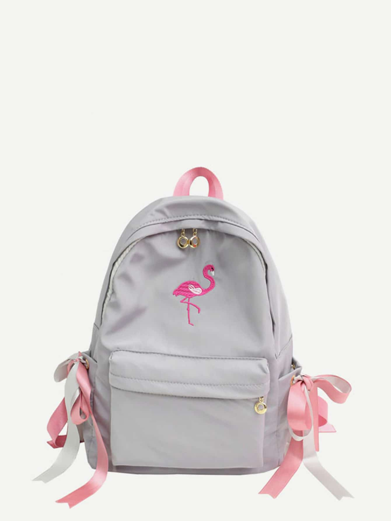Bow Tie Decor Flamingos Embroidered Backpack