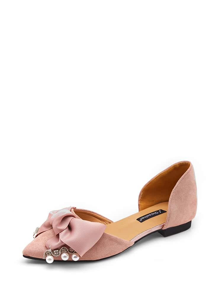 Faux Pearl Detail Bow Flats