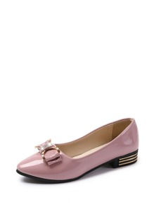 Bow Decor Patent Leather Flats