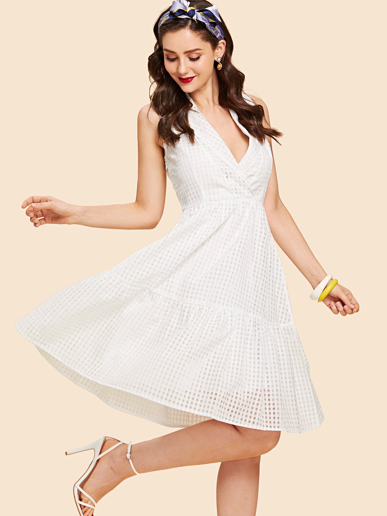 Ruffle Hem Deep V Neck Plaid Dress wrap front tied v back ruffle hem dress