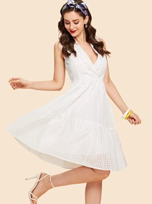 Ruffle Hem Deep V Neck Plaid Dress