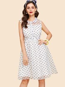 Dot Print Mesh Dress