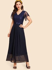 Lace Contrast Longline Dress