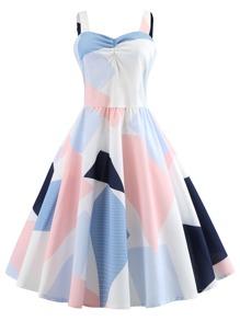 Color Block Sweetheart Cami Dress