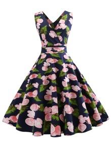 Fruit Print Double Plunge Flare Dress