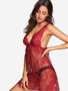 Ruffle Floral Lace Dress With Thong
