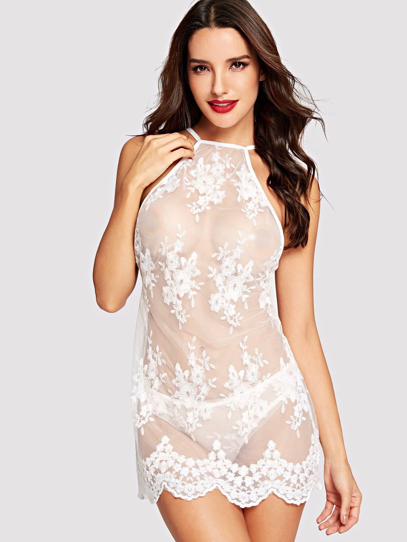 Купить Сексуальные Со цветочками Крестовый дизайн Сорочка Белый Белье, Juliana, SheIn