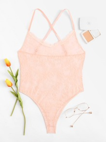 Criss Cross Floral Lace Teddy