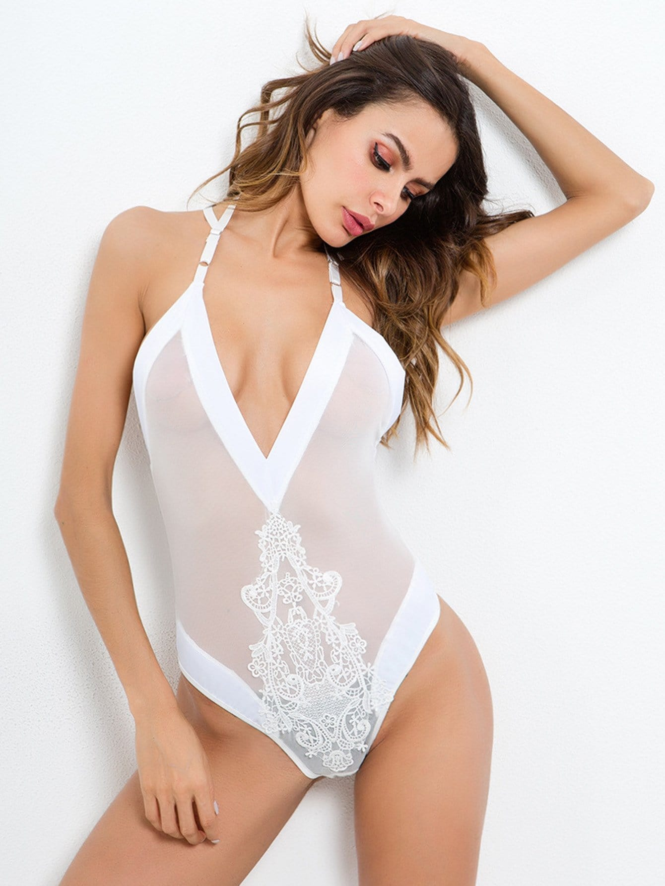 Contrast Lace V-Plunge Teddy
