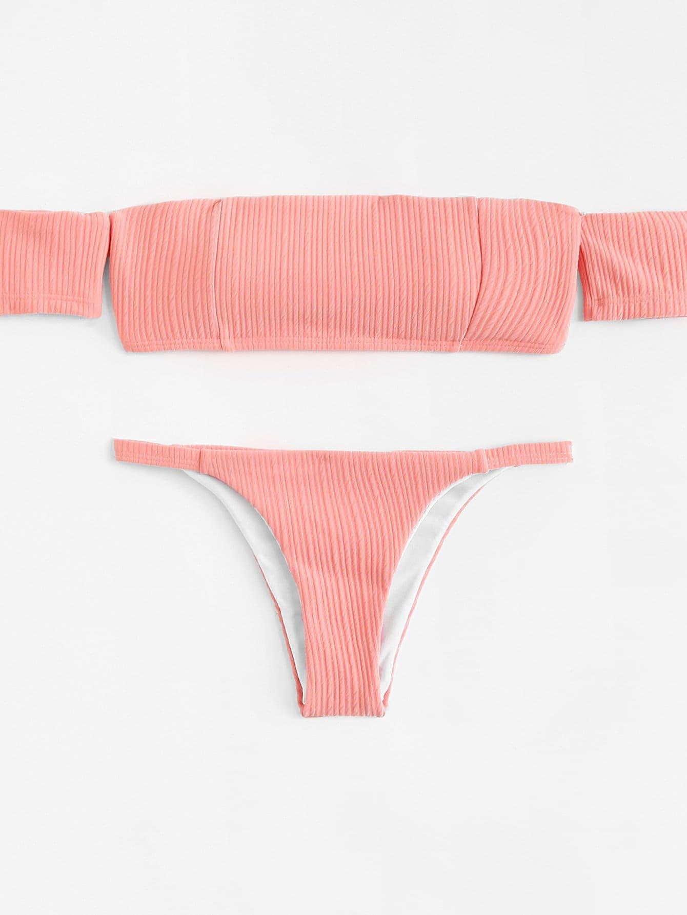 цена Off The Shoulder Ladder Cut-Out Bikini Set