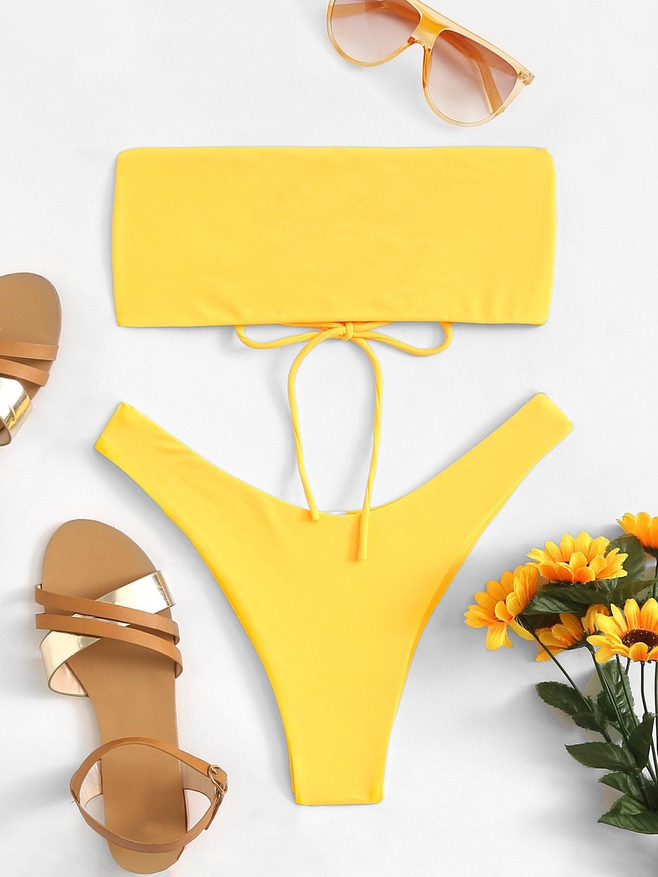 Купить Одноцветный со шнуровкой Бикини Желтый Купальник, null, SheIn