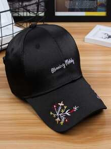 Embroidered Flower Satin Baseball Cap
