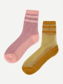 Glitter Striped Socks 2pairs