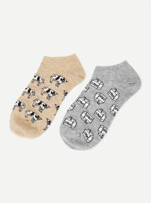 Cow Print Ankle Socks 2pairs
