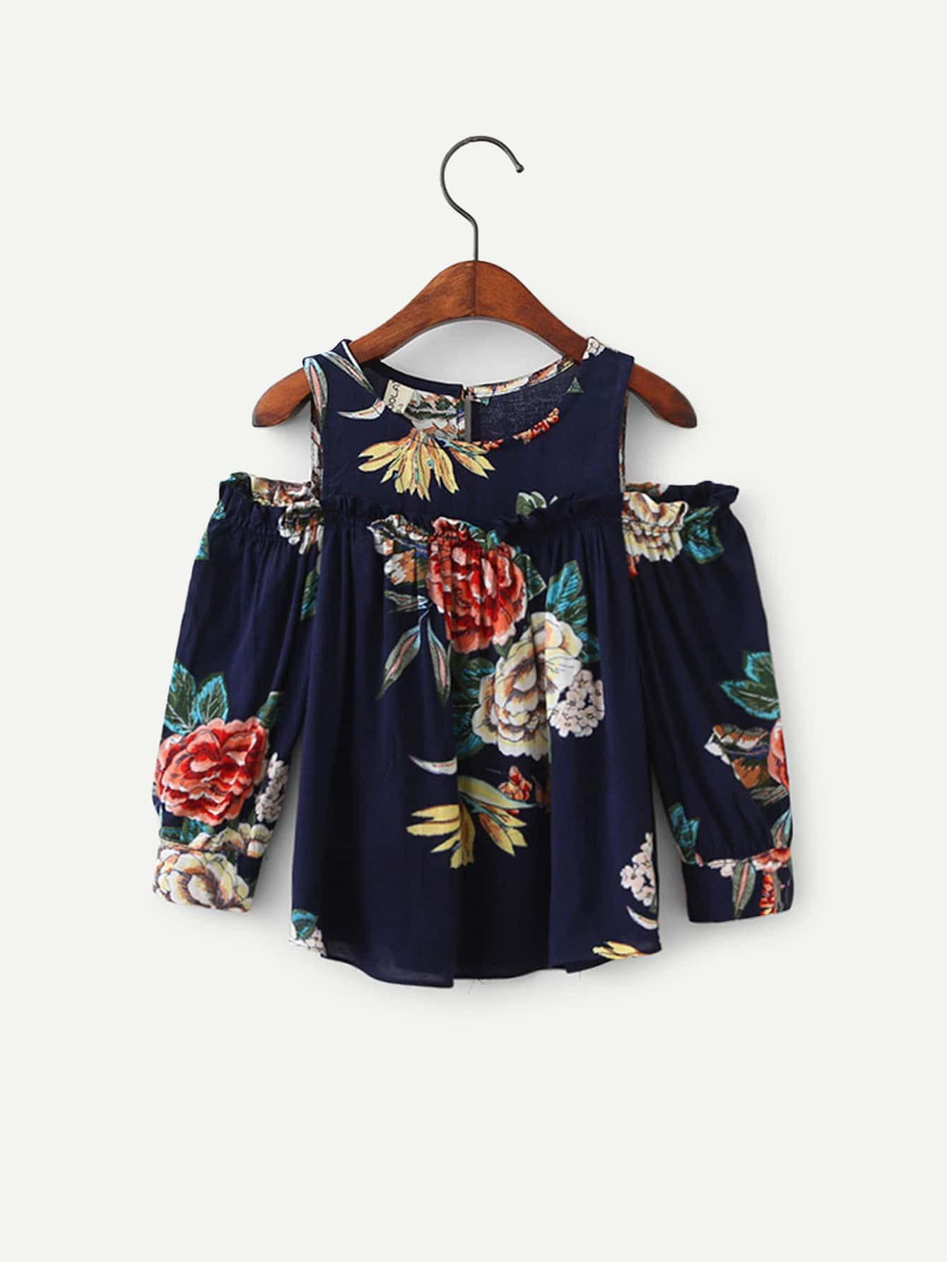 Девушки Цветочным Принтом И Открытым Плечом Блузка