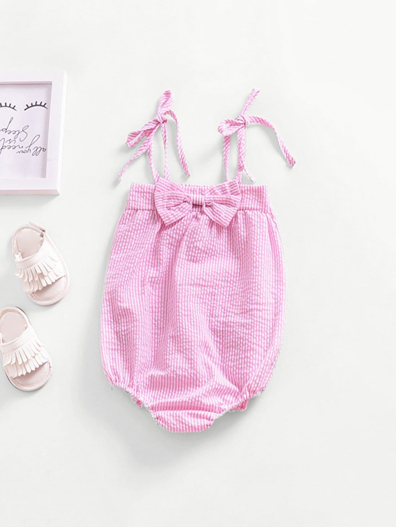 Girls Bow Detail Striped Cami Jumpsuit 2018 new spring girls children denim jeans jumpsuit overalls pants striped t shirt tracksuit sets for teenagers girls kids 71