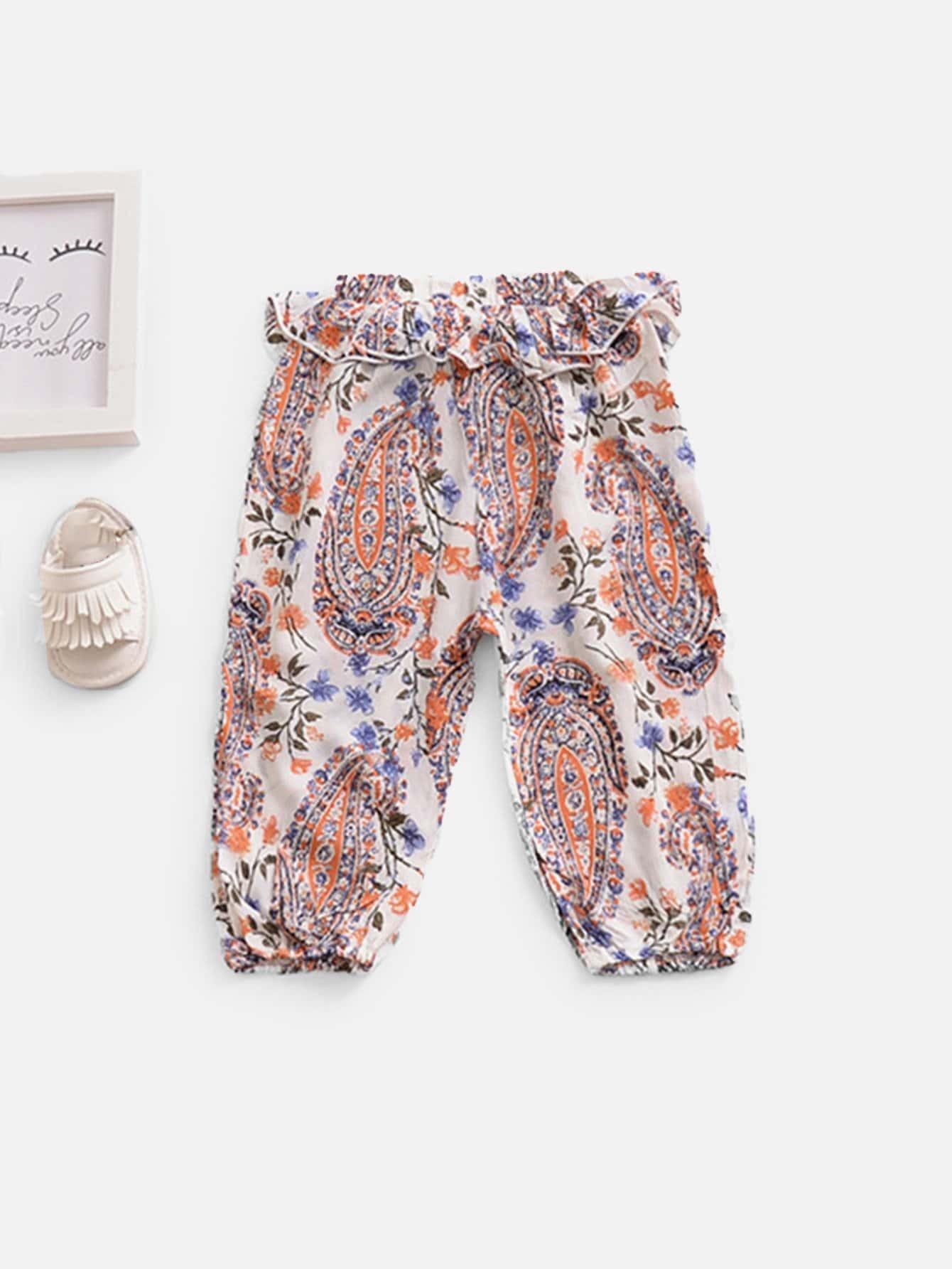 Girls Ruffle Trim Floral Print Pants ruffle trim floral print blouse