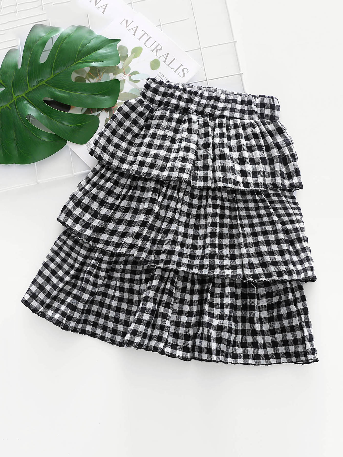 Girls Layered Gingham Skirt