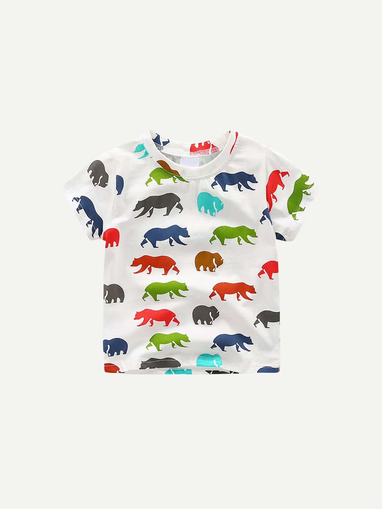 Boys Animal Print T-shirt beautify professional smal black animal print aluminium t beauty box cosmetics