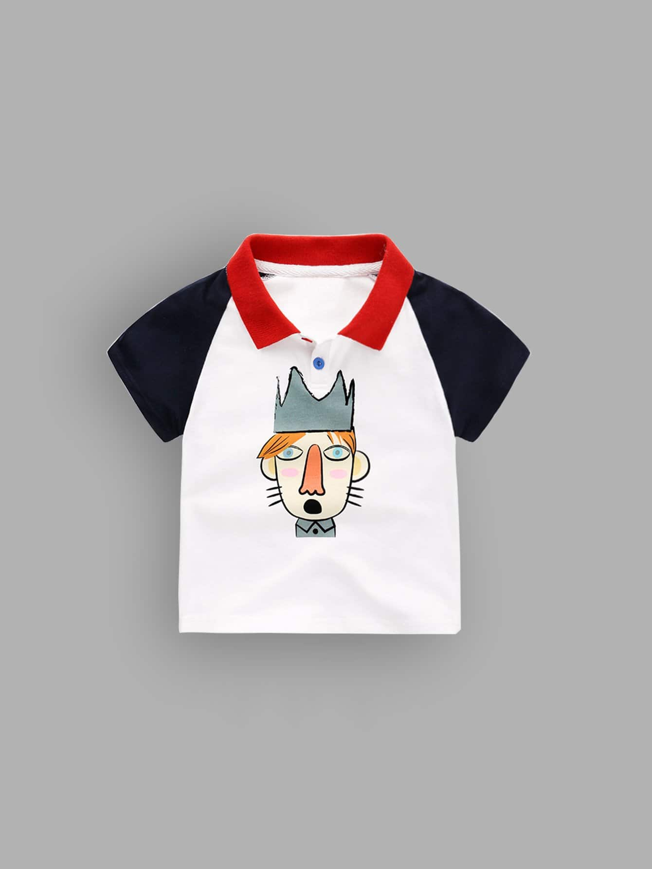 Boys Cartoon Print Polo Shirt