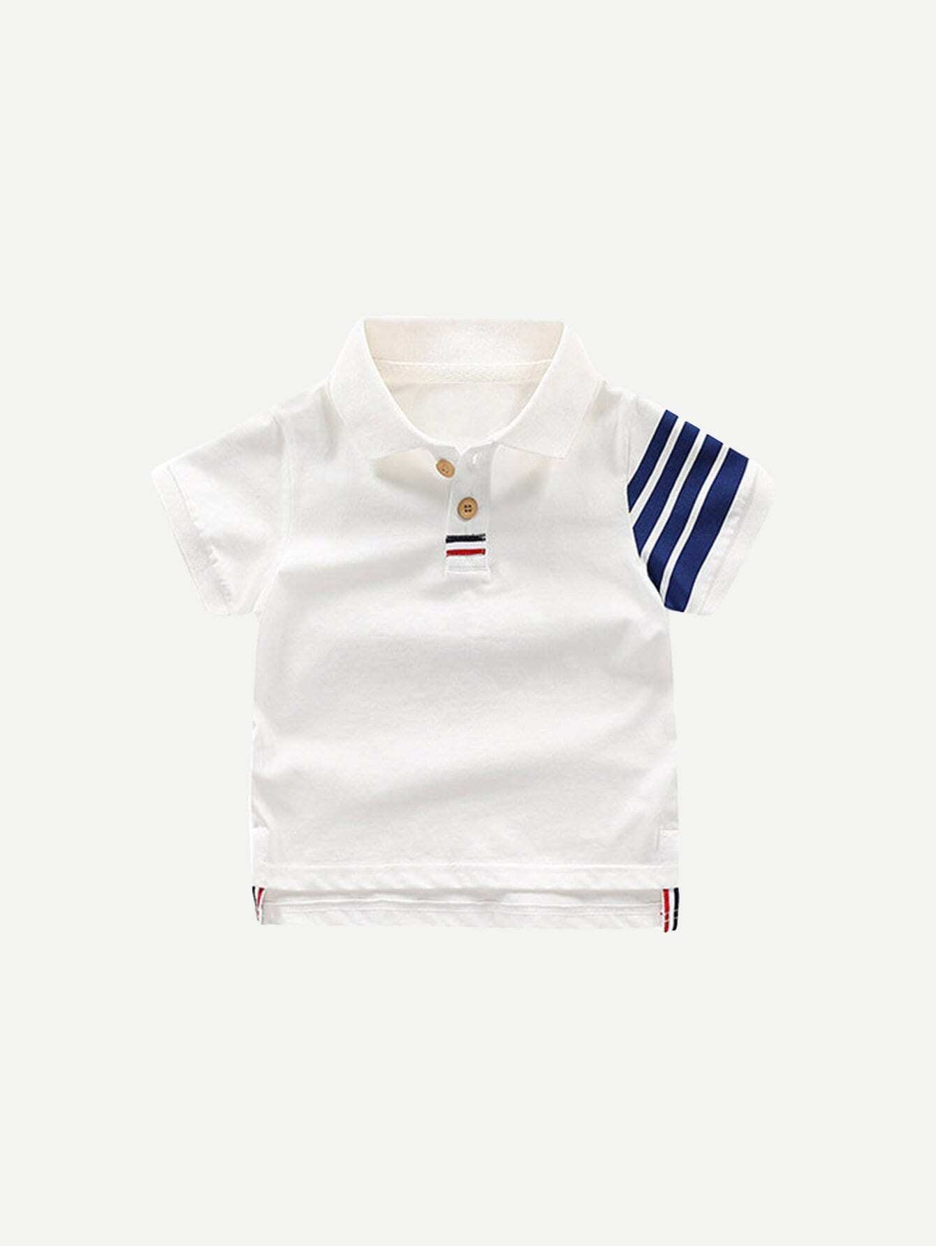 Контраст Мальчики Полосатый С Низким Подолом Рубашки Поло