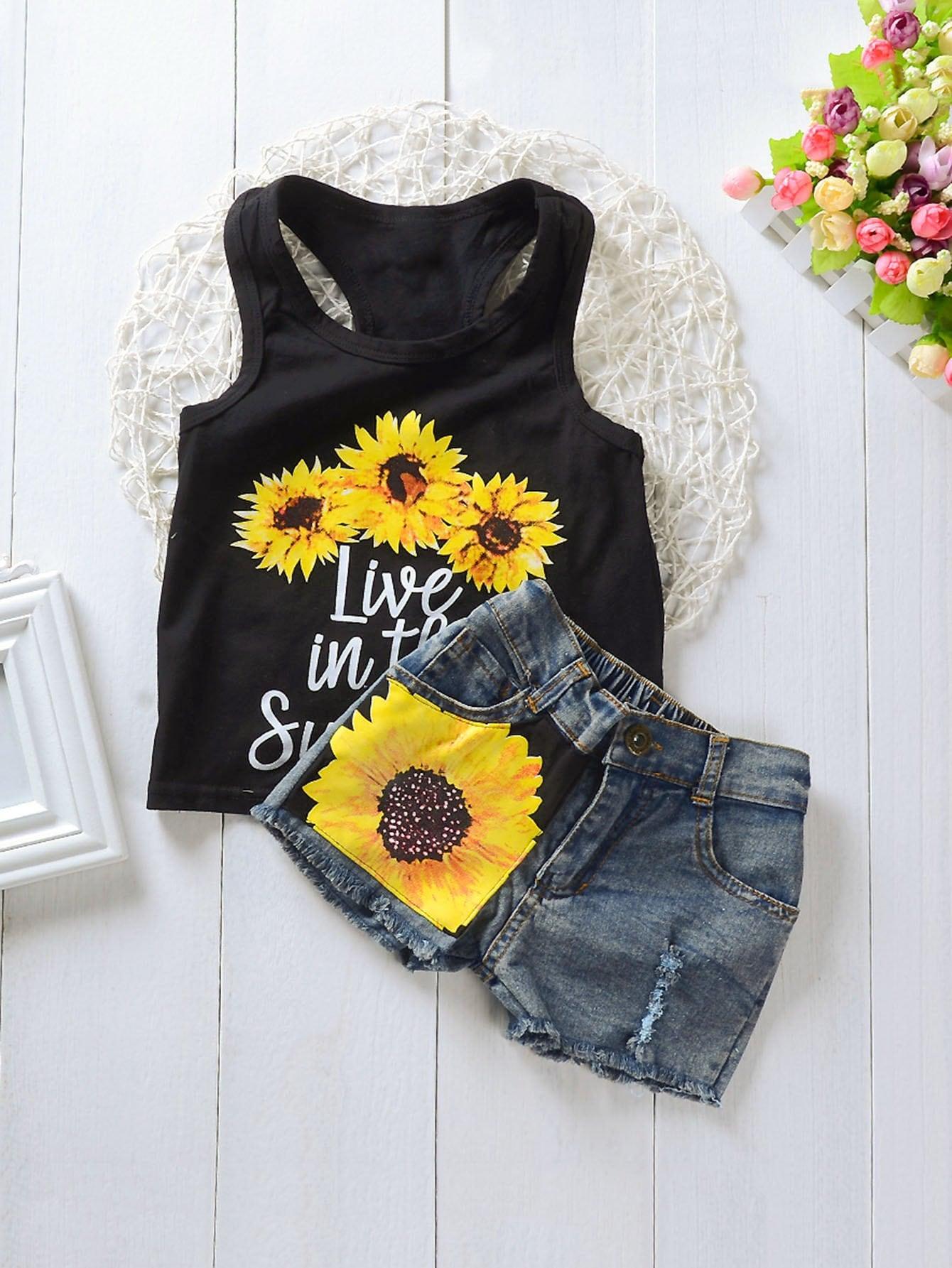 Girls Letter And Sun Flower Print Vest With Denim Shorts