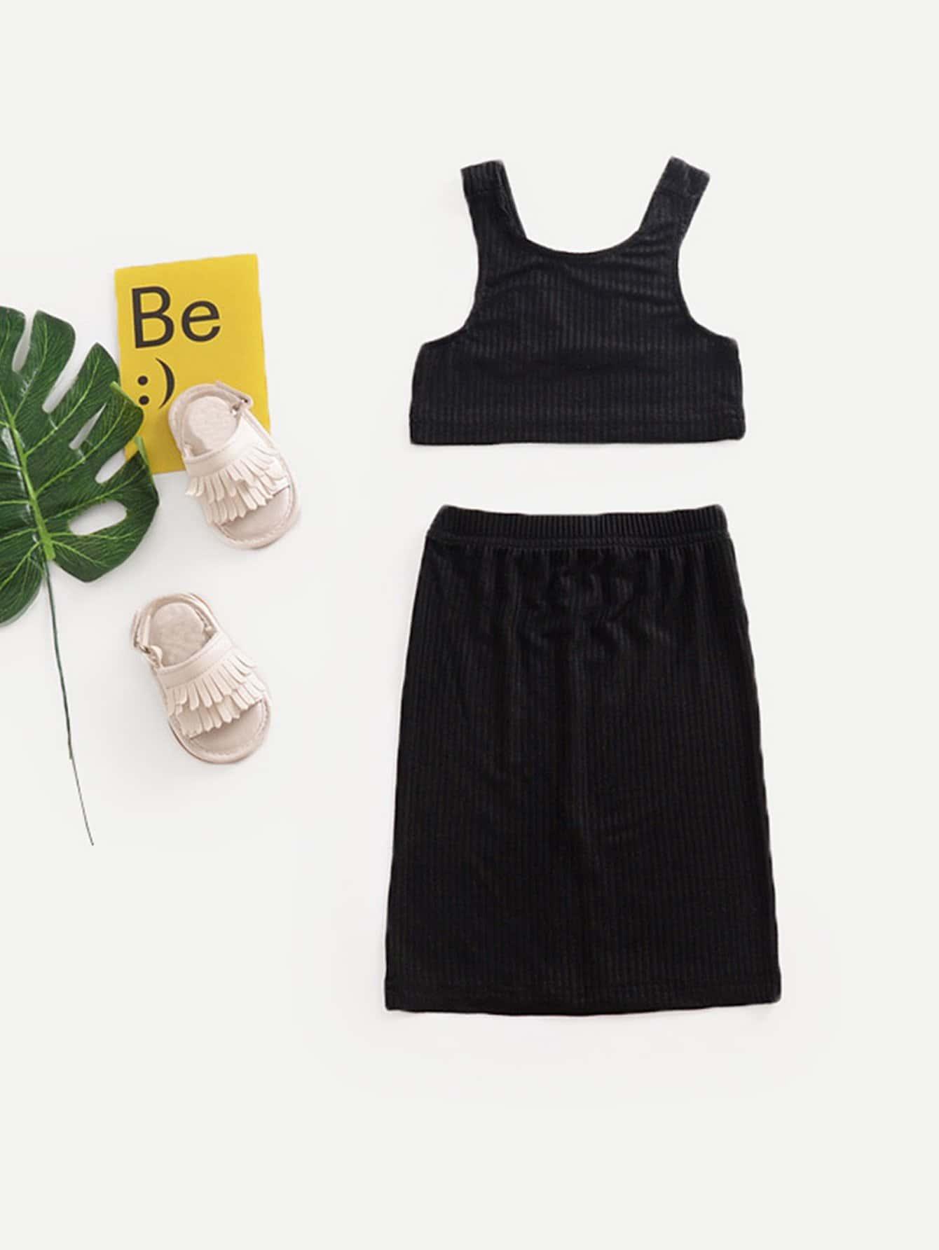 Girls Rib Knit Trim Top With Skirt rib knit tights