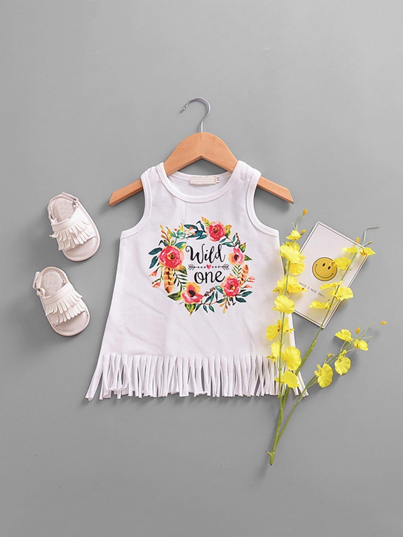 все цены на Girls Wreath And Letter Print Fringe Hem Vest