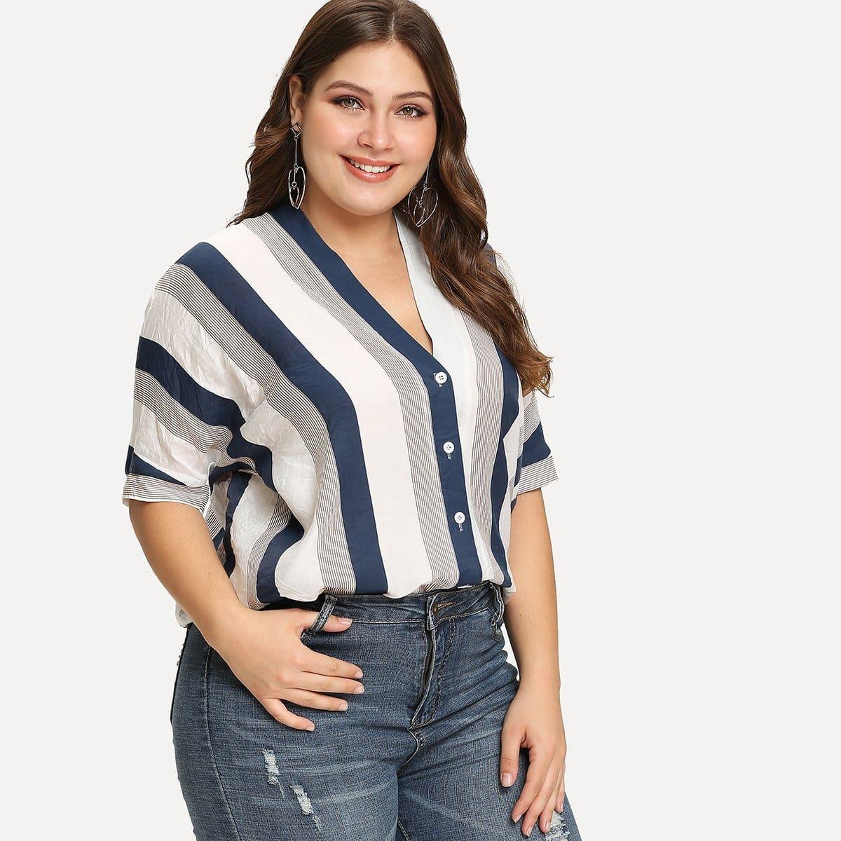 Полосатая Блуза На Пуговицах
