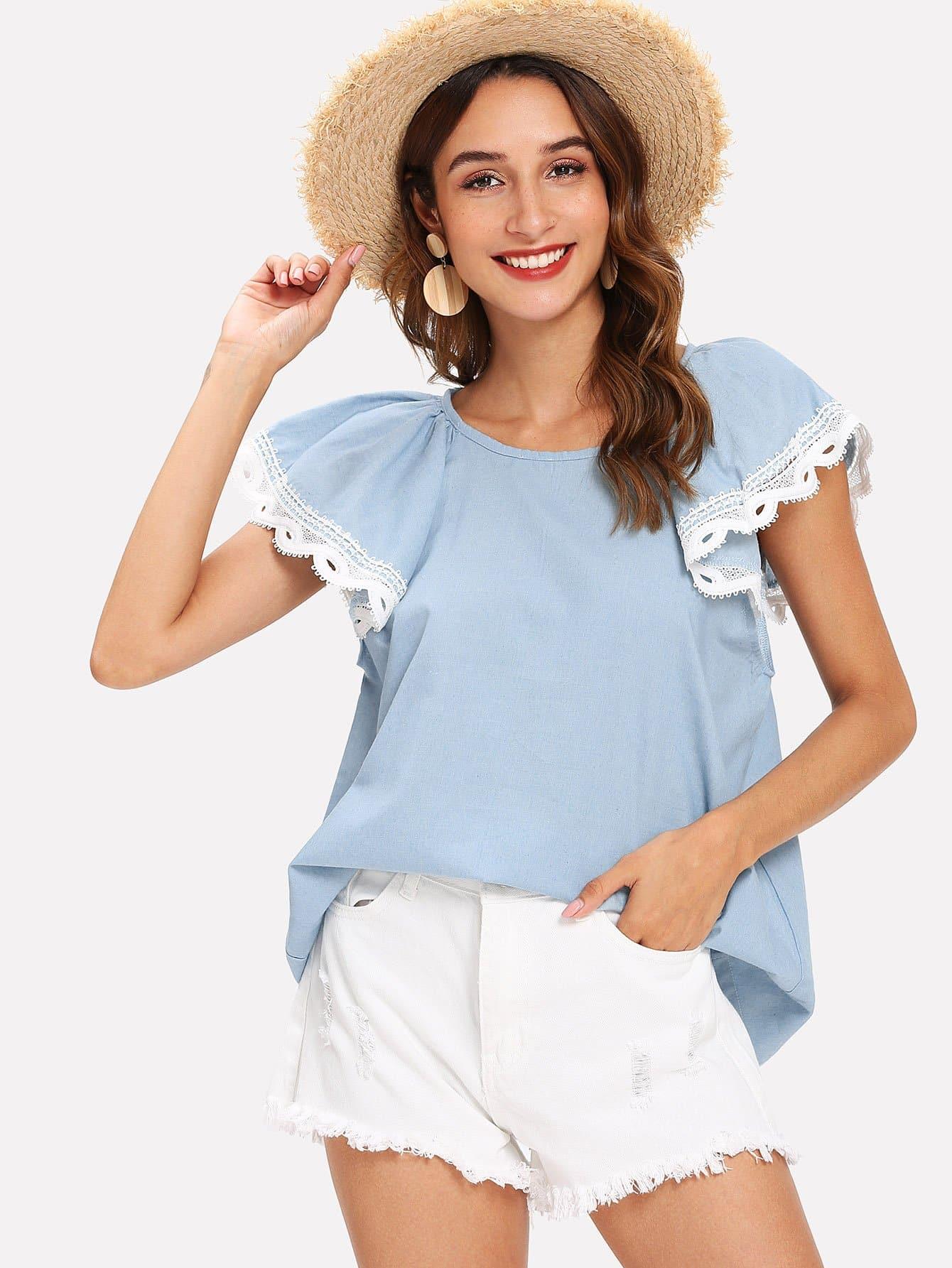 Купить Кружевная блузка и сзади одежды с замочной скважиной, Gabi B, SheIn