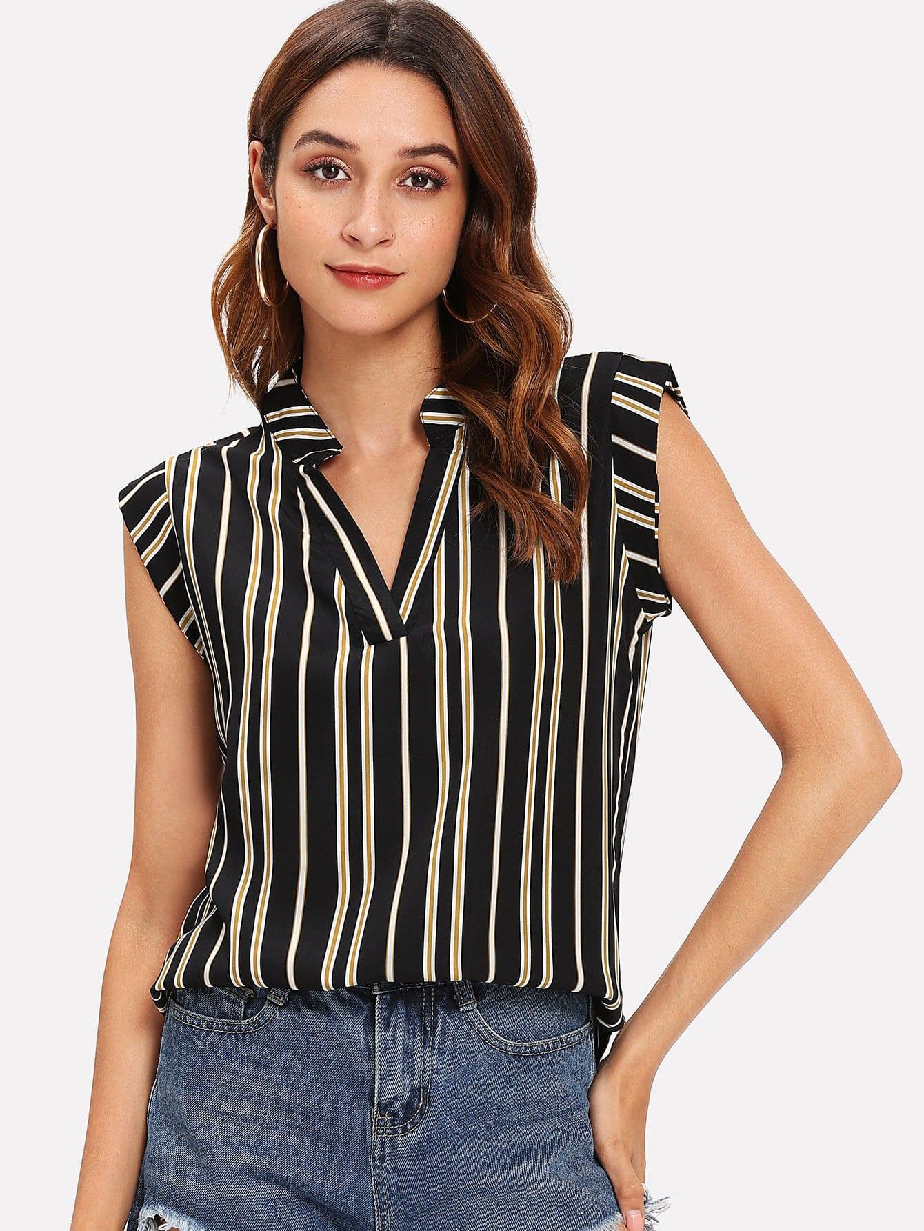 Купить Полосатая блузка с V-образном вырезом, Gabi B, SheIn