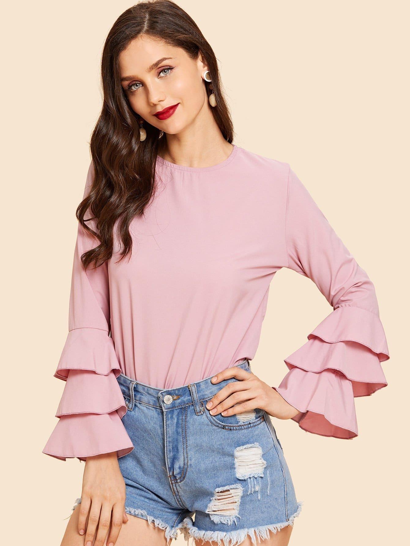 Купить Рубашка с накрахмаленными рукавами и сзади одежды с замочными скважинами, Julie H., SheIn