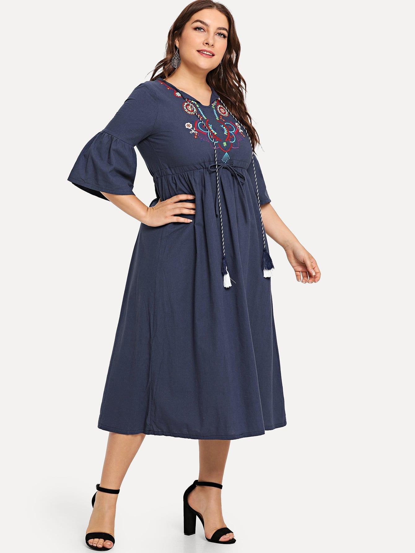 Plus Fringe Tie Neck Geo Embroidered Dress