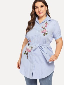 Plus Embroidered Floral Applique Striped Shirt Dress