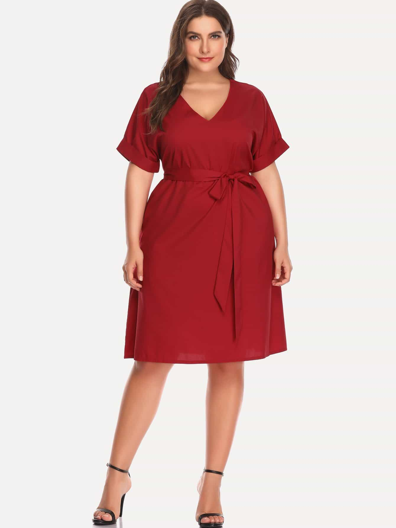 Plus Self Tie Waist Cuffed Dress