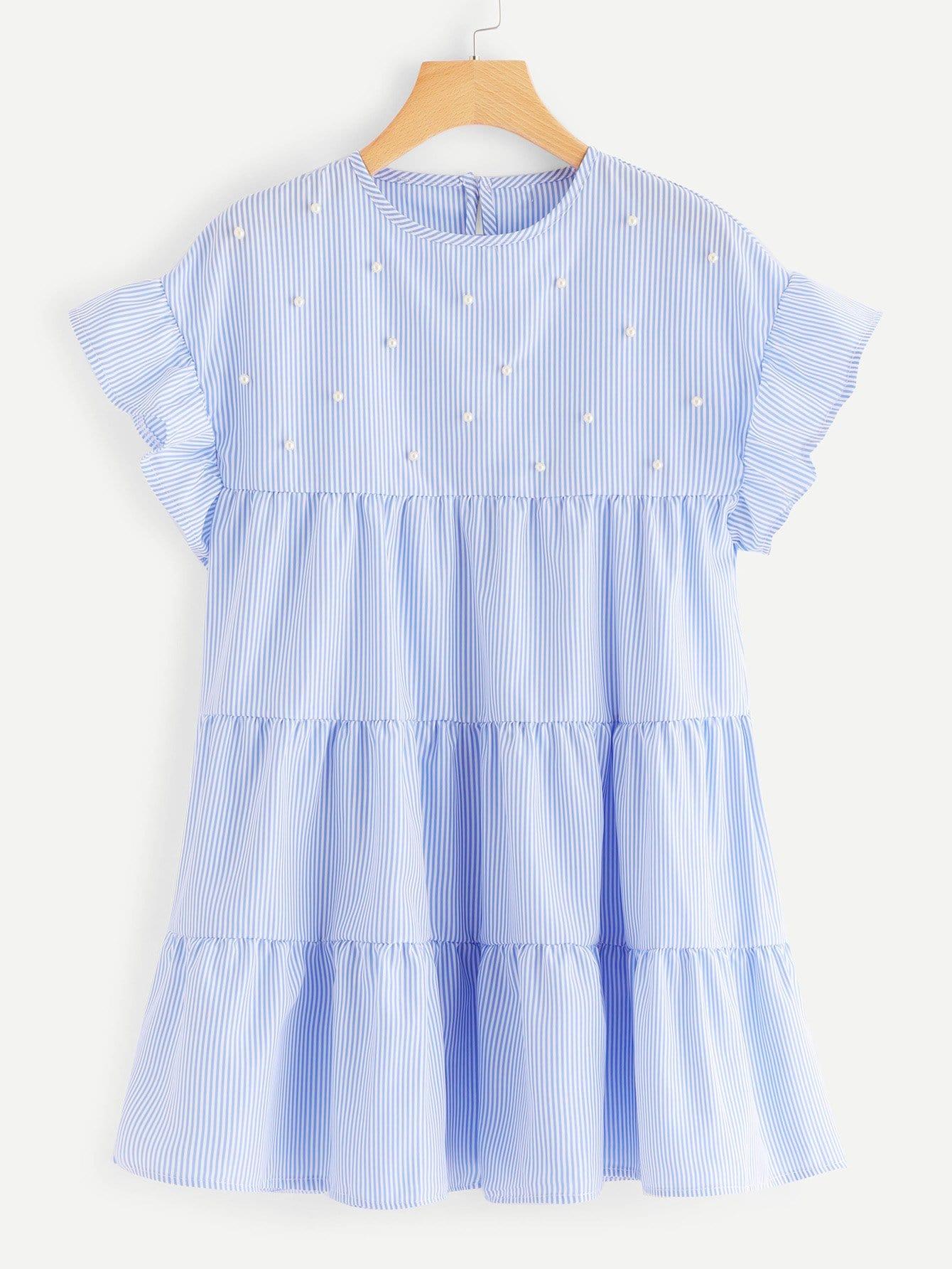 Купить Полосатое платье с украшением жемчугов, null, SheIn