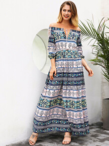 Off Shoulder Fringe Tie Neck Dress