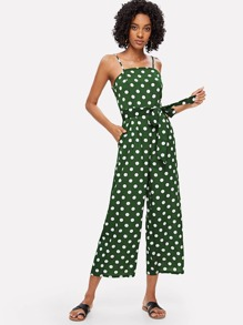 Self Tie Waist Polka Dot Jumpsuit