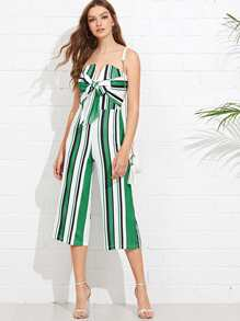Knot Front Striped Tube Jumpsuit