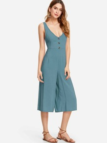 Tie Back Button Detail Jumpsuit
