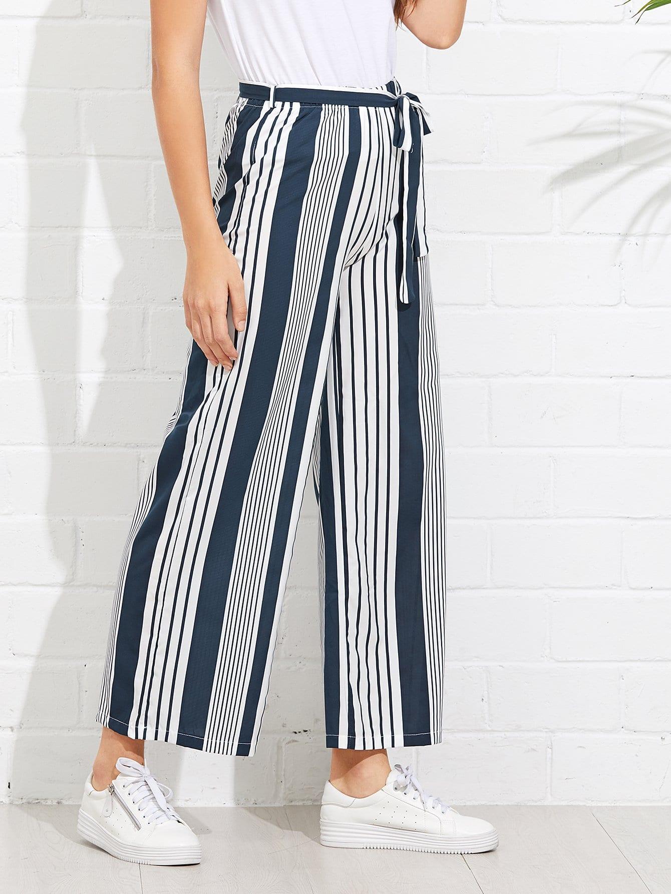 Купить Полосатые ситцевые брюки с поясом, Luiza, SheIn