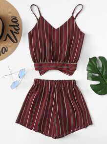 Striped Knot Back Cami Top With Shorts