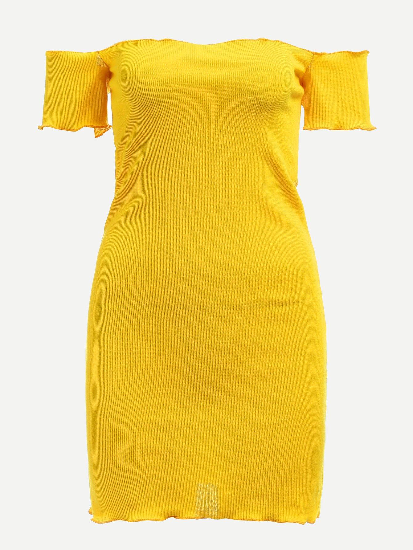 Купить Диско стиль Одноцветный Декоративный край Жёлтые Платья, null, SheIn